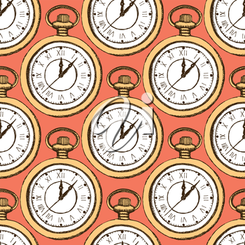 Sketch pocket watch in vintage style, vector seamless pattern