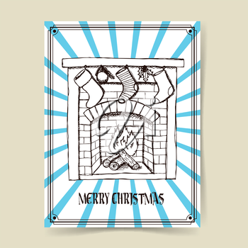 Sketch Christmas fireplace in vintage style, vector poster