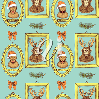 Sketch monkey in Santa's hat and chimpanzee with reindeer's antlers in frames, vintage style, vector seamless pattern