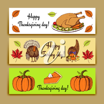 Sketch Thanksgiving banners in vintage style, vector