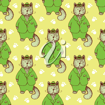 Sketch cat in suit in vintage style, vector seamless pattern