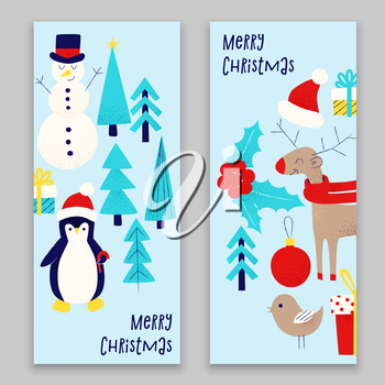 Christmas card with snowman, penguin and deer