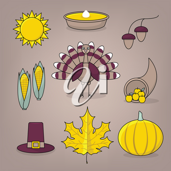 Thanksgiving icons with turkey, pumpkin pie, settlers hat and cornucopia