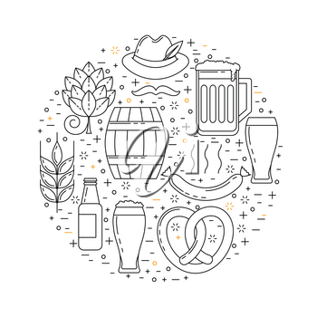 Cold beer design, vector pub decoration with mugs and hop