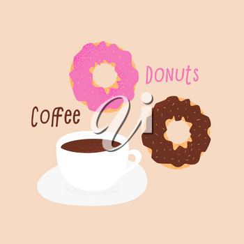 Donut and tea cup design, love concept with hearts