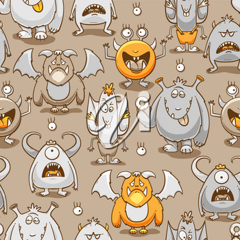 Monsters cartoon seamless pattern, vector illustration with different emotions