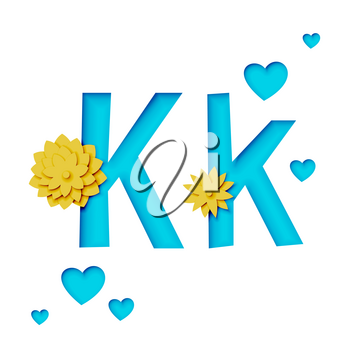 Paper cut letter K with flowers, realistic 3d vector design