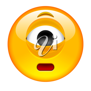 Cyclops Emoticon. Isolated Vector Illustration on White Background