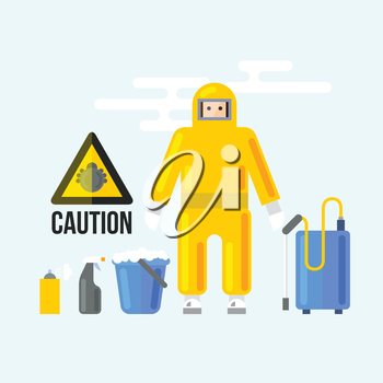 Chemical Cleaning Services. Caution attention signs. Insect fumigation spray symbol. Vector Illustration of Bugs' Disinfection