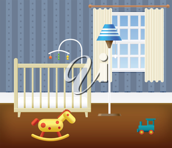 Baby Room With Furniture. Nursery Interior. Vector illustration.