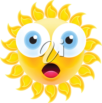 Embarrassed Sun Emoticon with Open Mouth. Shocked Sun Emoji with Two Big Eyes. Isolated Vector Illustration on White Background