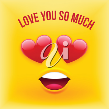 Vector Emoji Style Card with Text Love You So Much for Valentines Day, Wedding, Dating, Summer Vacation and Other Romantic Events. Emoticon Style Banner Template on Yellow Background.