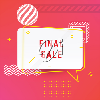 Trendy Abstract Geometric Final Sale Vector Bubble. Vivid Transparent Banner in Retro Poster Design Style. Vintage Colors and Shapes. Red and Yellow colors.