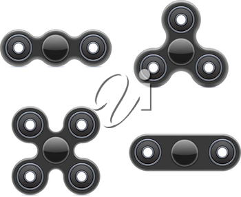 Hand Fidget Spinner Toy. Stress and Anxiety Relief. Black Plastic Toy. Hand Spinner Vector Logo and Labels. Fidget Spinners Emblems