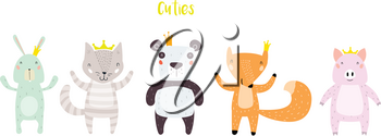 Panda, Cat, Bunny, Pig, and Fox Characters Staying Together in Crowns. Two Animals in Cute Trendy Modern Cartoon Childish Style. Perfect for Print, Web, App or Any Digital Design Manipulation.