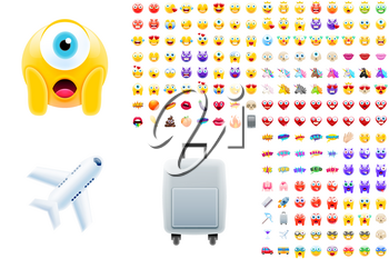 Set of Modern Realistic Emojis for Summer Vacations or Holidays. Detailed Icons for Good Resolution or Printed Products Like Postcards or Books. Perfect for Social Media Content and Marketing Campaign