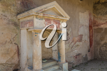 The antique villa in Pompeii city destroyed in 79BC by the eruption of volcano Vesuvius, Italy in a beautiful summer day