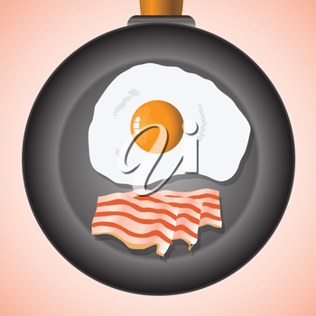 colorful illustration with eggs and bacon for your design