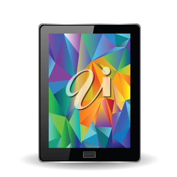 colorful illustration with tablet computer on a white background for your design