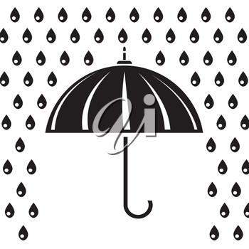 illustration with silhouette of umbrella  for your design