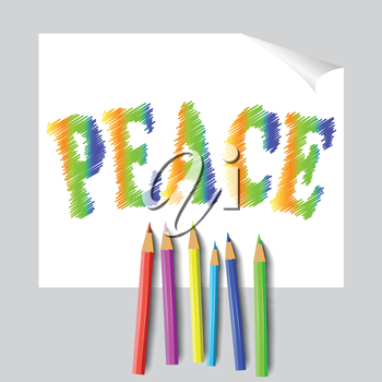 colorful illustration with peace paint and pencils for your design