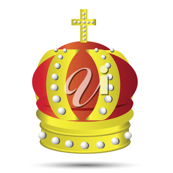 colorful illustration with golden crown on a white background  for your design