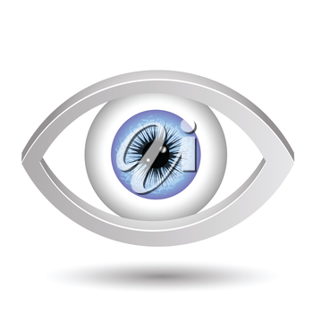 colorful illustration with blue female eye  on a white background