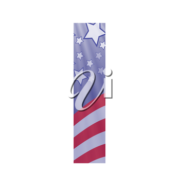 colorful illustration with  american flag letter I on a white background