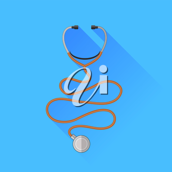 Medical Stethoscope Icon Isolated on Blue Background