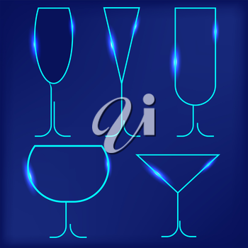 Set of Different Wine Glasses Isolated on Blue Background