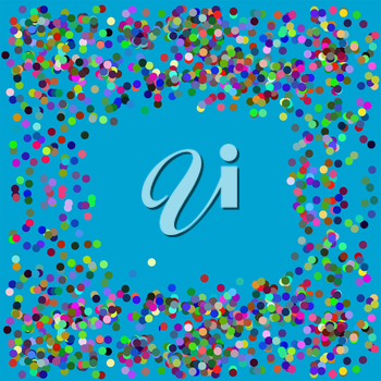 Vector Colorful Confetti Frame Isolated on Azure Background
