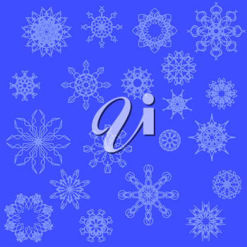 Set of Snow Flakes Isolated on Blue Background