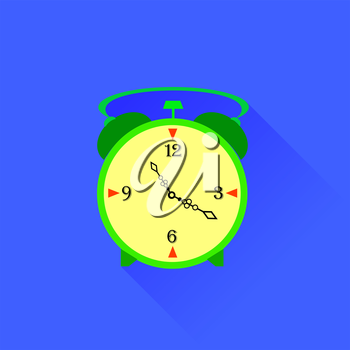 Alarm Clock Icon Isolated on Blue Background. Long Shadow