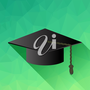 Dark Academic Cap Isolated on Green Background