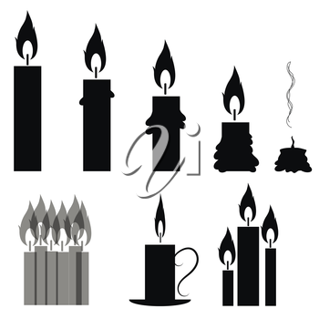 Set of Different Burning Retro Candles Isolated on White Background