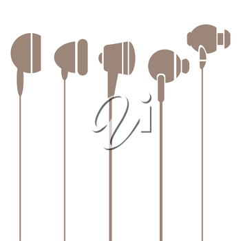 Earphones  Silhouettes Icons Isolated on White Background
