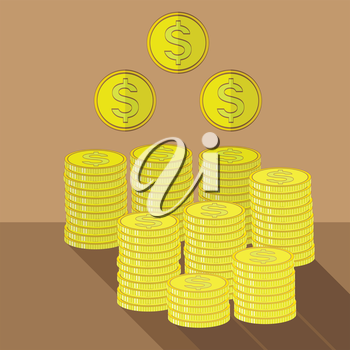 Gold Coins Icon. Cash Money Concept on Brown Background