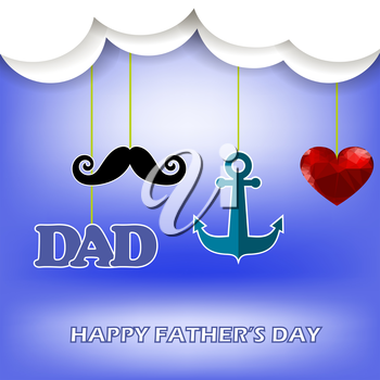 Super Dad Poster on Blue Sky Background. Happy Fathers Day