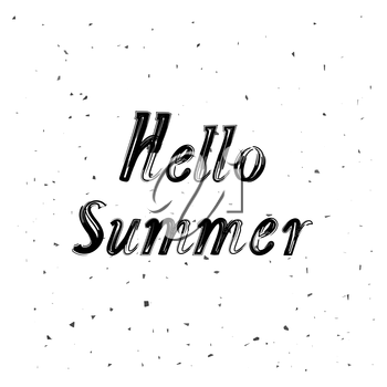 Brush Lettering Composition.Phrase Hello Summer. Hello Summer Text Title Poster Design