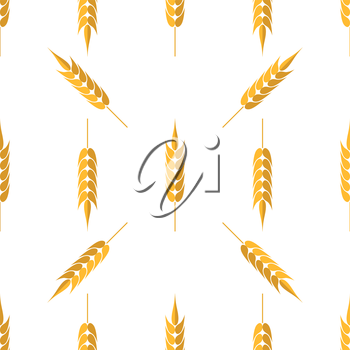 Seamless Wheat Pattern. Set of Ears Isolated on White Background
