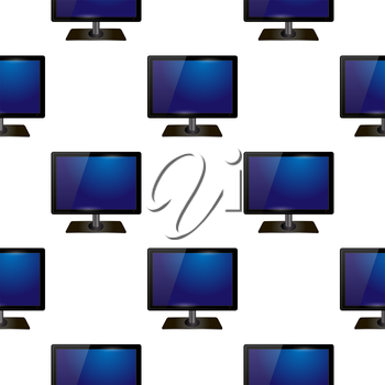 Screen Monitor Seamless Pattern on White Background