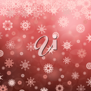Winter Snowflake Red Pattern. Christmas Blurred Background