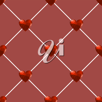 Seamless Polygonal Hearts Pattern Isolated on Red Background