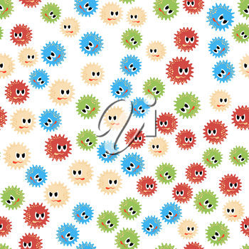 Colored Cartoon Microbes Seamless Pattern on White Background. Pandemic Colored Backteria. Dangerous Bad Viruses. Germs Backterial Mickroorganism. Bacterium Monsters