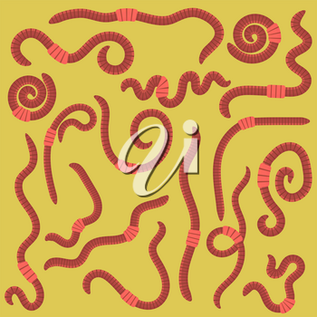 Animal Earth Red Worms for Fishing Isolated on Yellow Background