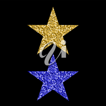 Gold Blue Glitter Star Isolated on Black Background