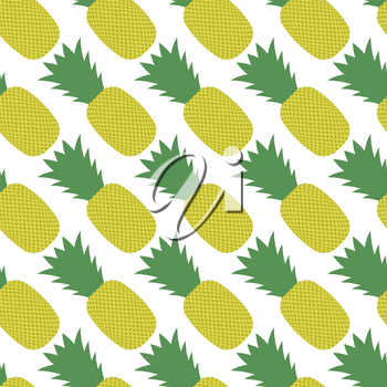 Pineapple Pattern Isolated on White Background. Tropical Fruit Texture