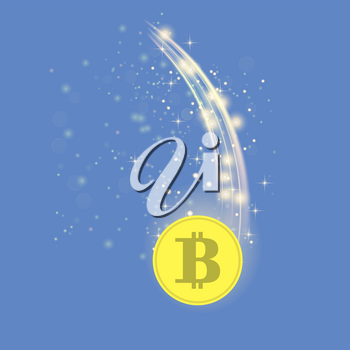 Golden Bitcoin Isolated on Blue Background. Crypto Currency Icon