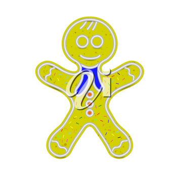Gingerbread Man Isolated on White Background. Sweet Classic Christmas Cookie