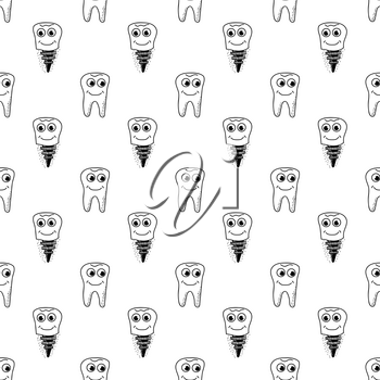 Healthy Teeth Seamless Pattern. Human Molar Isolated on White Background